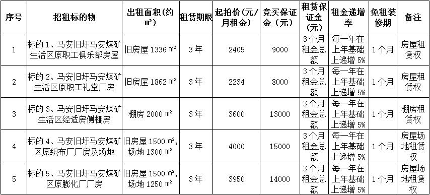 肇庆市马安煤矿五宗物业租赁权拍卖公告