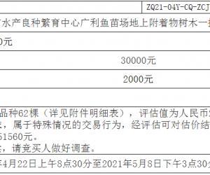 肇庆市水产良种繁育中心广利鱼苗场地上附着物树木一批转让项目挂牌...公告(终止)